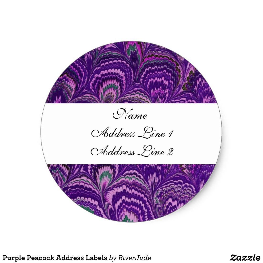 Purple Peacock Address Labels