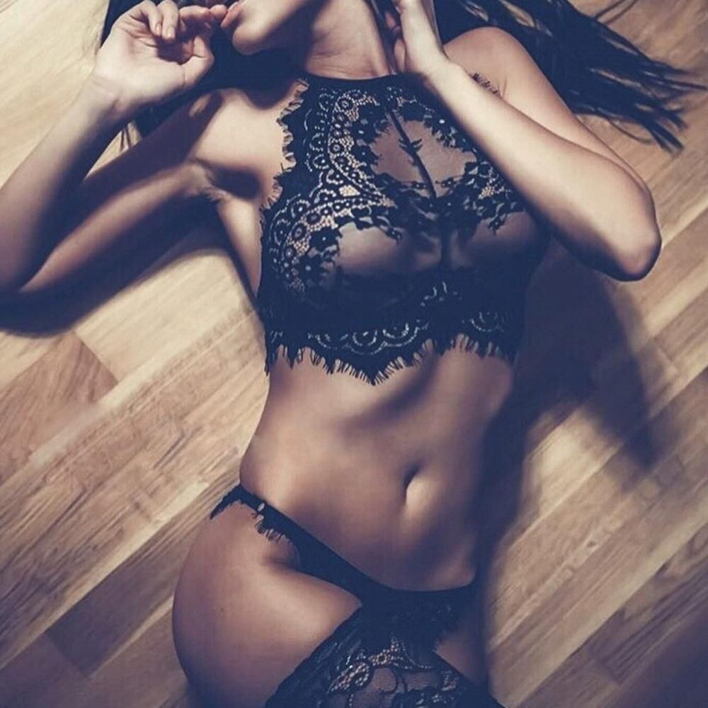 532fea0fe5 Fashion Women Sexy Lingerie Lace Flowers Push Up Top Bra Pants Underwear Set