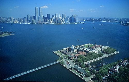 Ellis Island, New York Harbor, New Jersey, NJ (1994) | World Trade Center in the background.