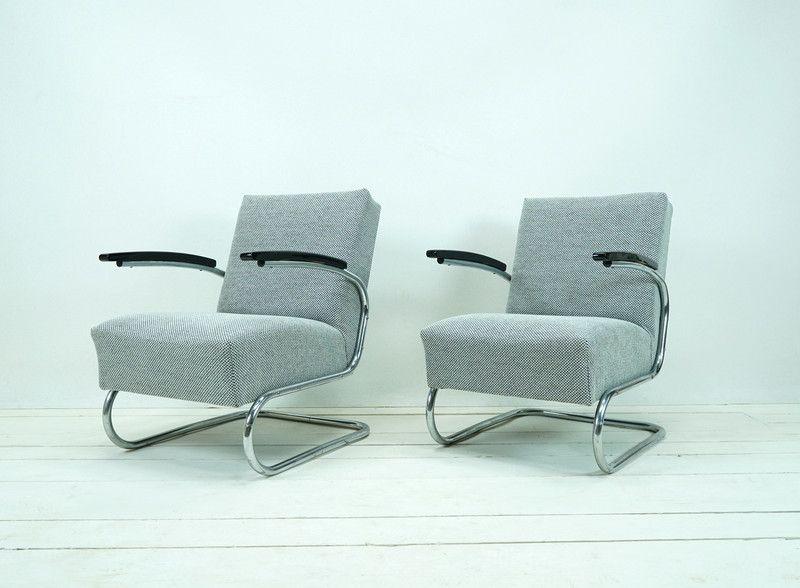 vintage sessel bauhaus sessel original grau schwarz ein designerst ck von ferdinand. Black Bedroom Furniture Sets. Home Design Ideas
