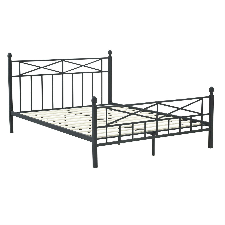 Full Size Matte Black Metal Platform Bed Frame with Headboard ...