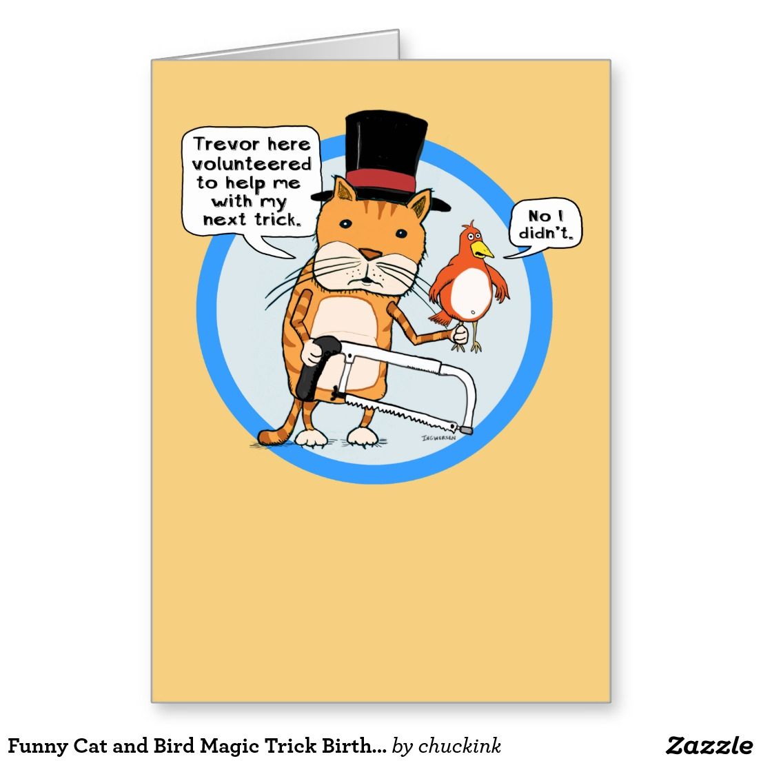 Funny cat and bird magic trick birthday greeting card funny funny cat and bird magic trick birthday greeting card kristyandbryce Images