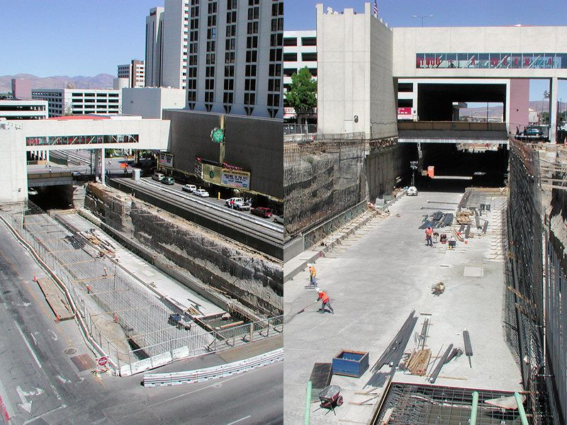 On Nov. 18, 2005, the first train rolled through the completed trench, just three years after construction began. 2.1 mile project cost  282 million dollars. The Reno Transportation Rail Access Corridor (ReTRAC) says this was the biggest public works improvement undertaken by the City of Reno.
