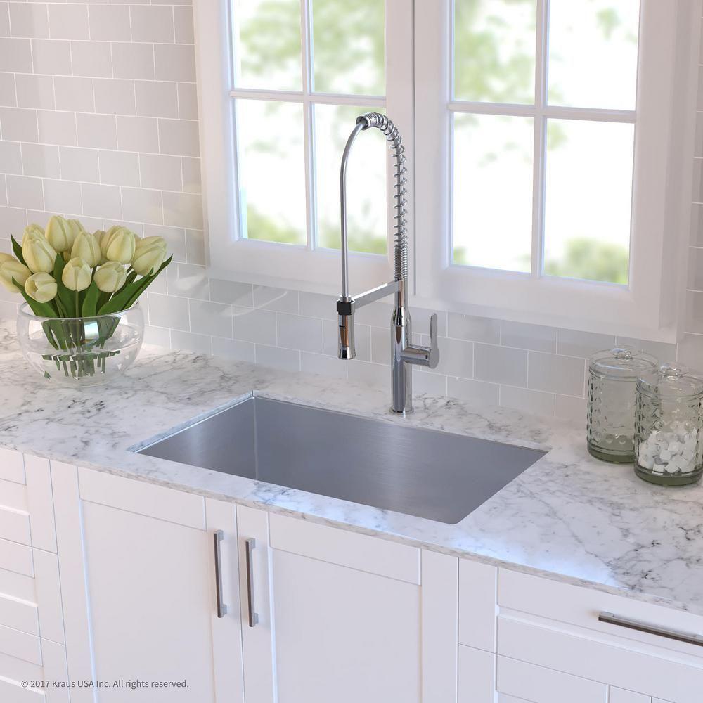 Kraus Standart Pro 32in 16 Gauge Undermount Single Bowl Stainless Steel Kitchen Sink Khu100 32 The Home Depot Kitchen Sink Remodel Undermount Kitchen Sinks Interior Design Kitchen