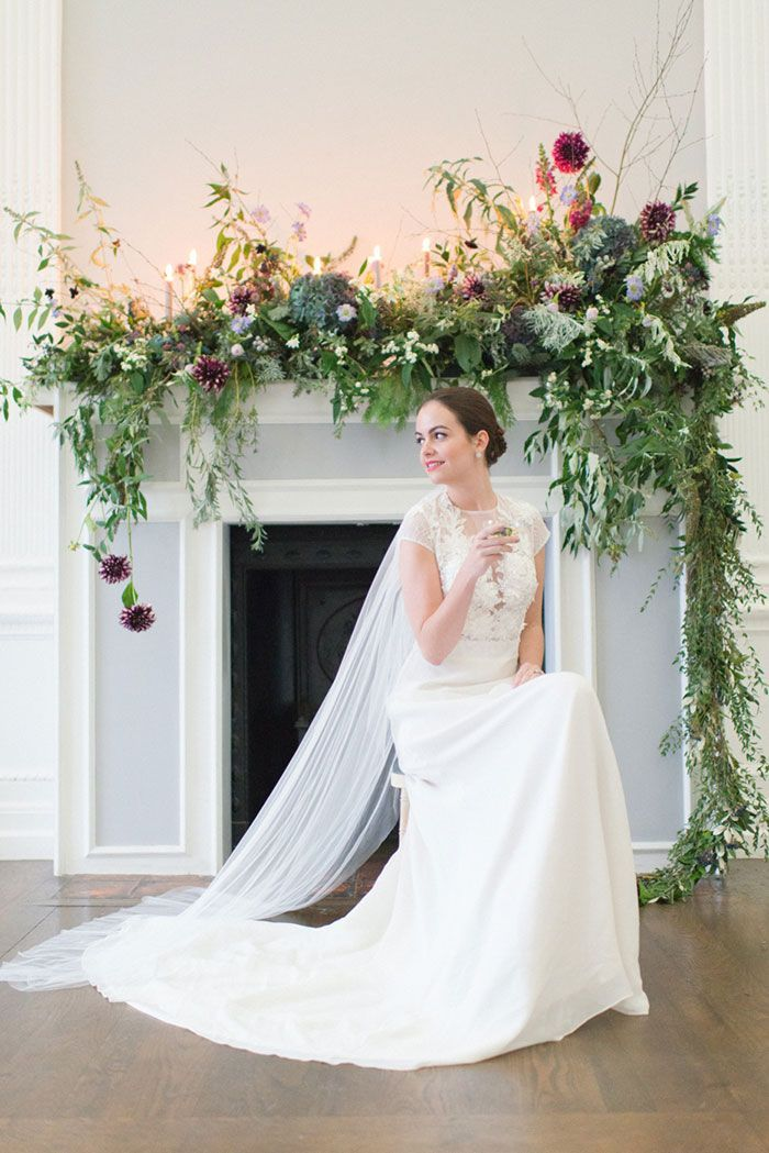 large floral mantel installation, Institute of contemporary arts   London Wedding Venue   JULIE MICHAELSEN PHOTOGRAPHY   Planning GLIMMER & THREADS   Floral design JAY ARCHER FLORAL DESIGN   Calligraphy JUDY BROAD CALLIGRAPHY is part of Wedding fireplace -