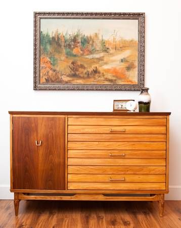 Mid Century Sideboard Walnut And Oak By Knechtel Furniture In Ontario Circa 1960s