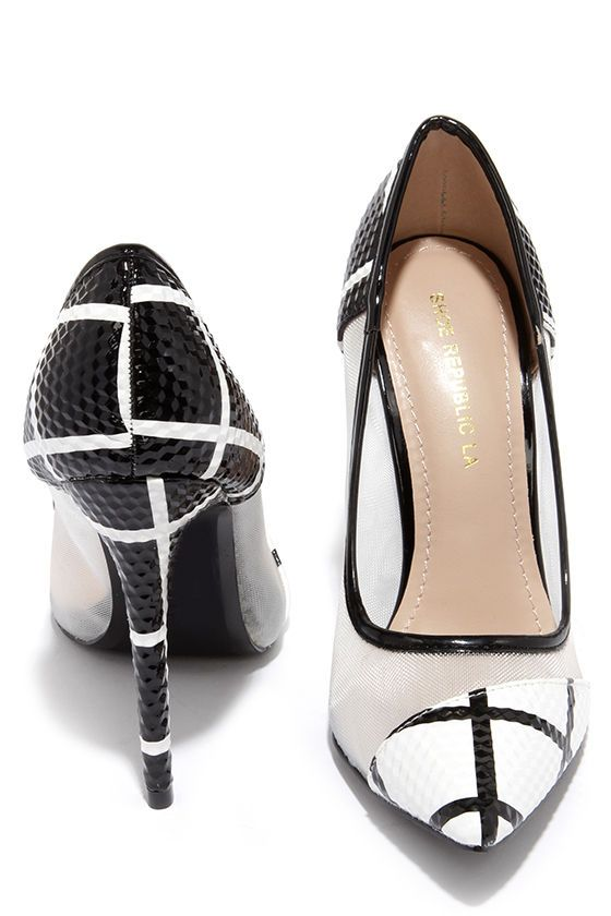 0db17b85a918 Grid Strides Black and White Pointed Pumps at Lulus.com!