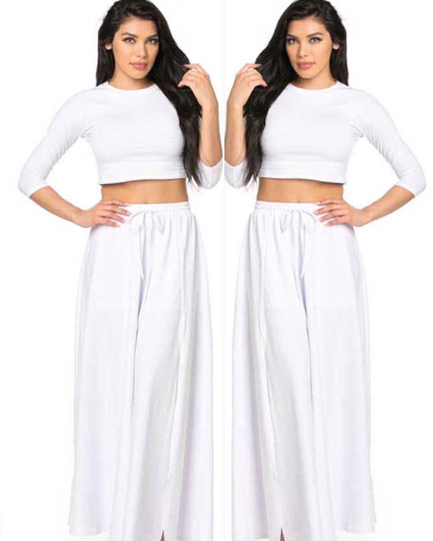 e608efd95 2 Piece Crop Top Sweat Maxi Skirt w/ Slit Set | Women's fashion ...