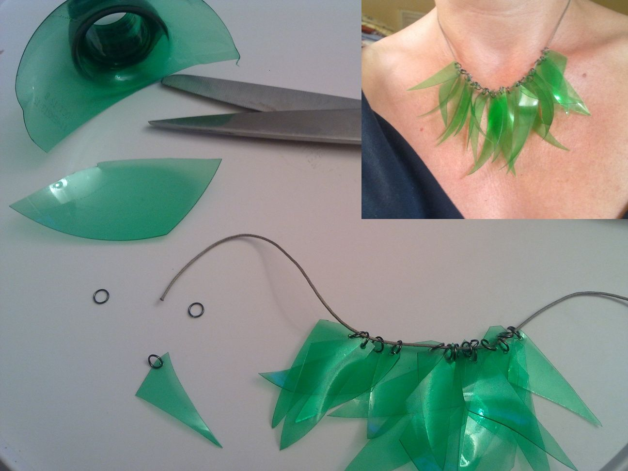 Clothing accessories made from recycled materials - Plastic bottle jewelry making ...