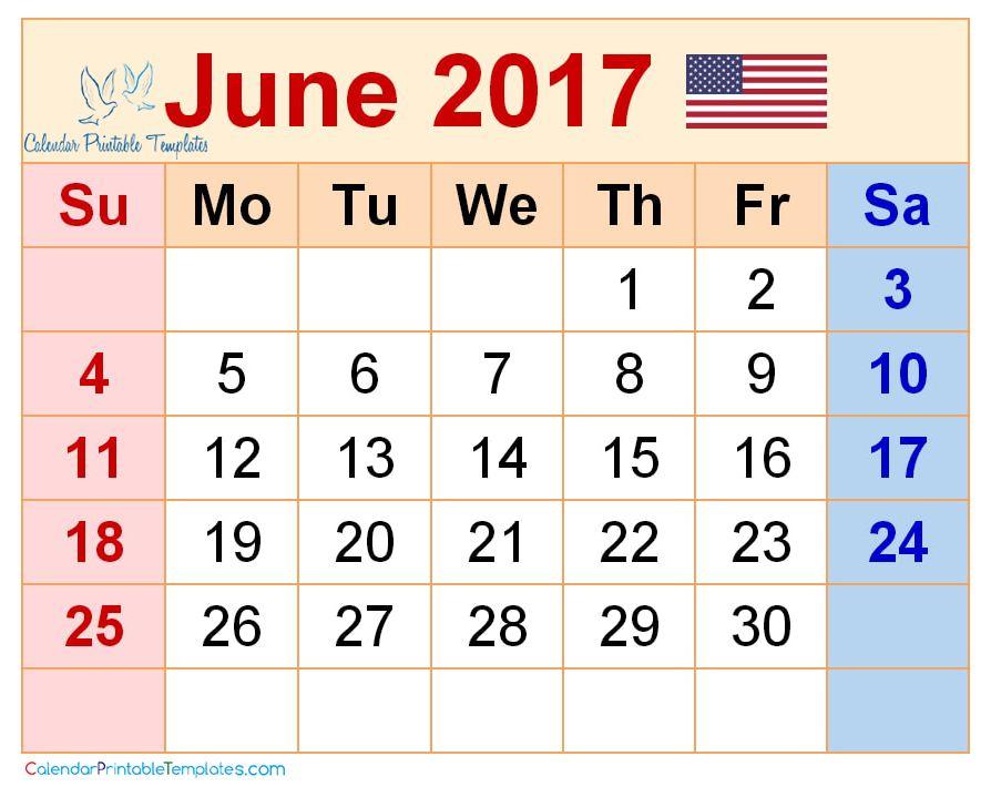June 2017 Calendar USA http\/\/wwwcalendarprintabletemplates - calendar template pdf