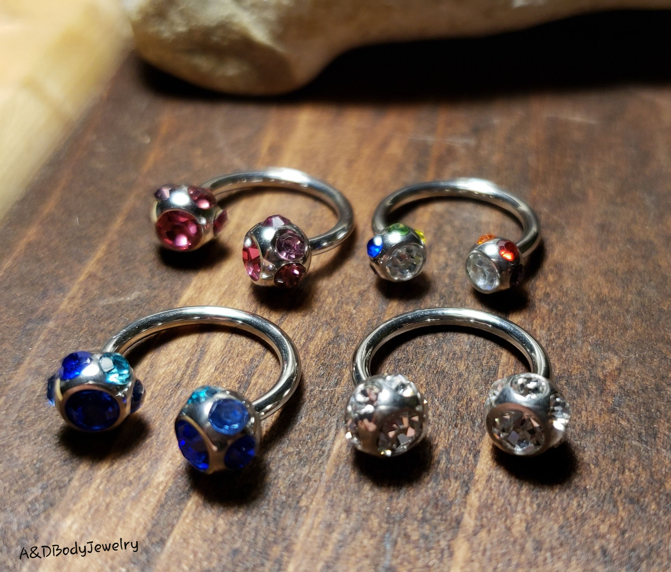 Glow In The Dark Ball Horseshoe Piercing Bar Ring CHOOSE SINGLE OR PAIR