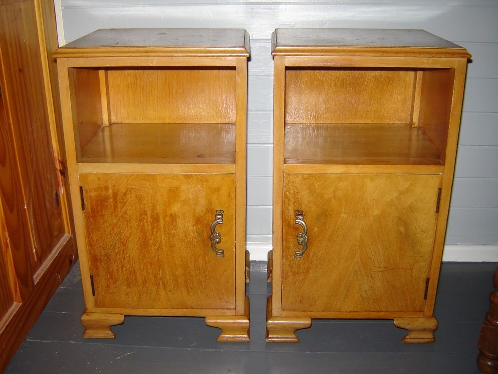 Art Deco Maple Bedside Cabinets