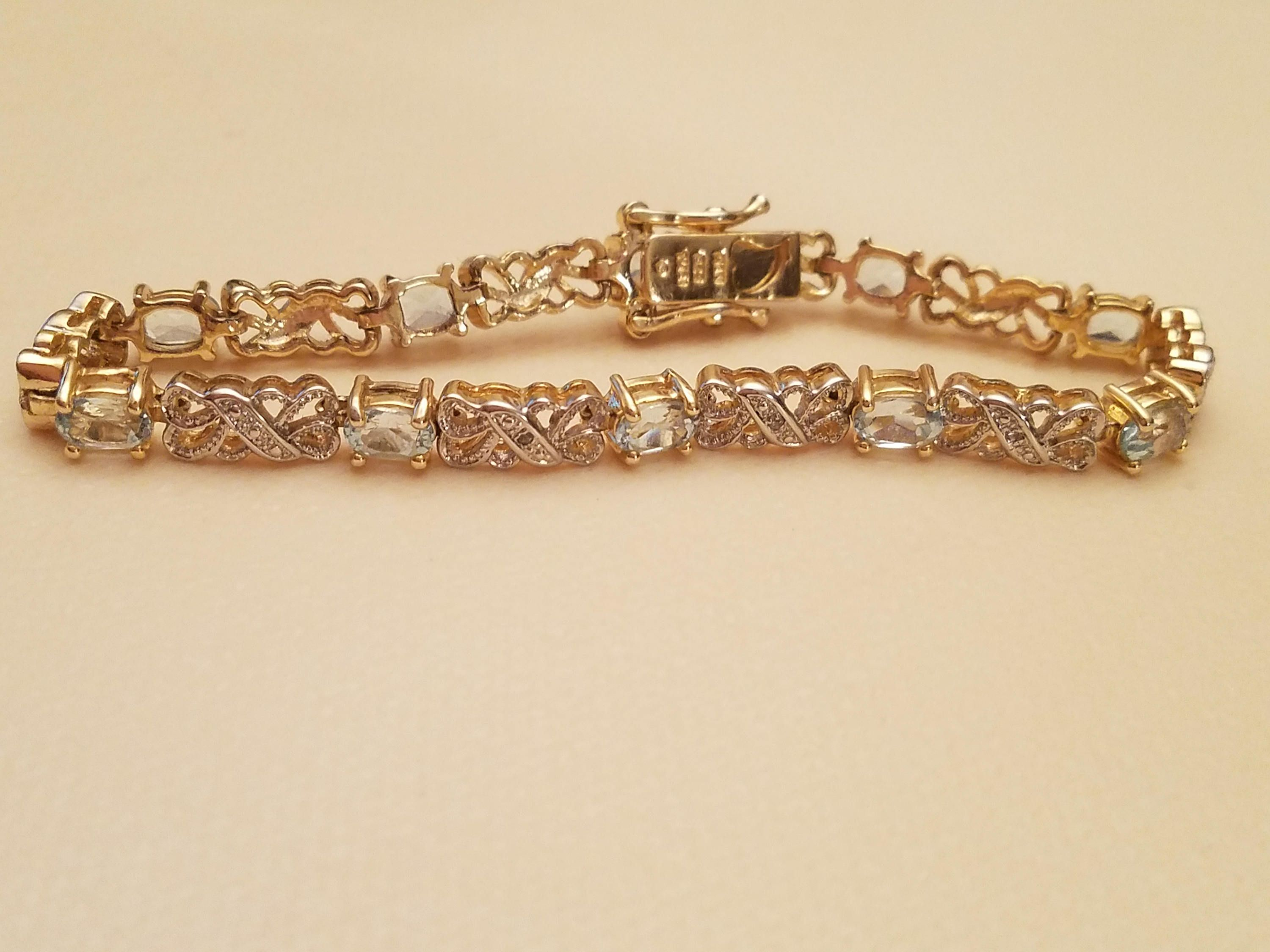 Sterling Silver/ Gold Plated HAN Thailand Bracelet with Blue Semi