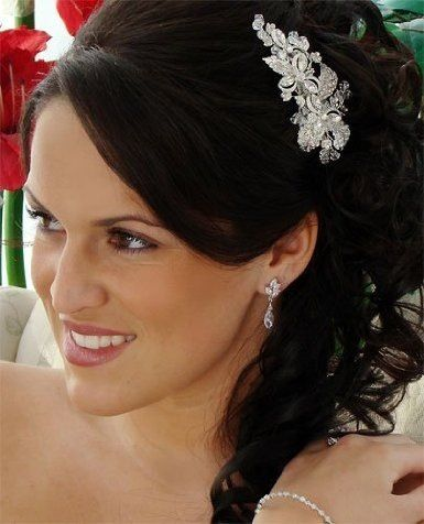 Wedding Hairstyles With Combs On Bridal Side Comb Rhinestone Crystal