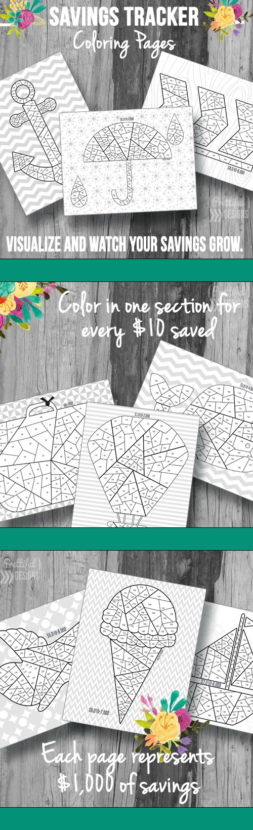 Savings Tracker Coloring Pages. Free Printable from Prettiful ...