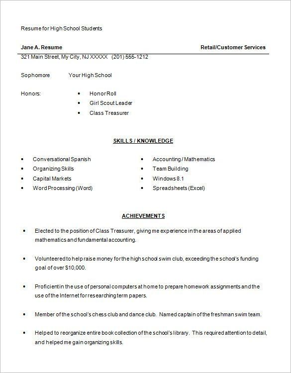 A Teenage Resume Examples Resume examples and Student resume