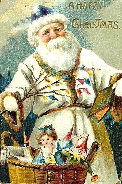 Vintage Christmas card, A Happy Christmas. Santa Clause in white robe and blue hat.