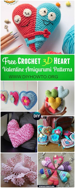 Amigurumi Crochet 3D Heart Free Patterns via @diyhowto | Crochet and ...