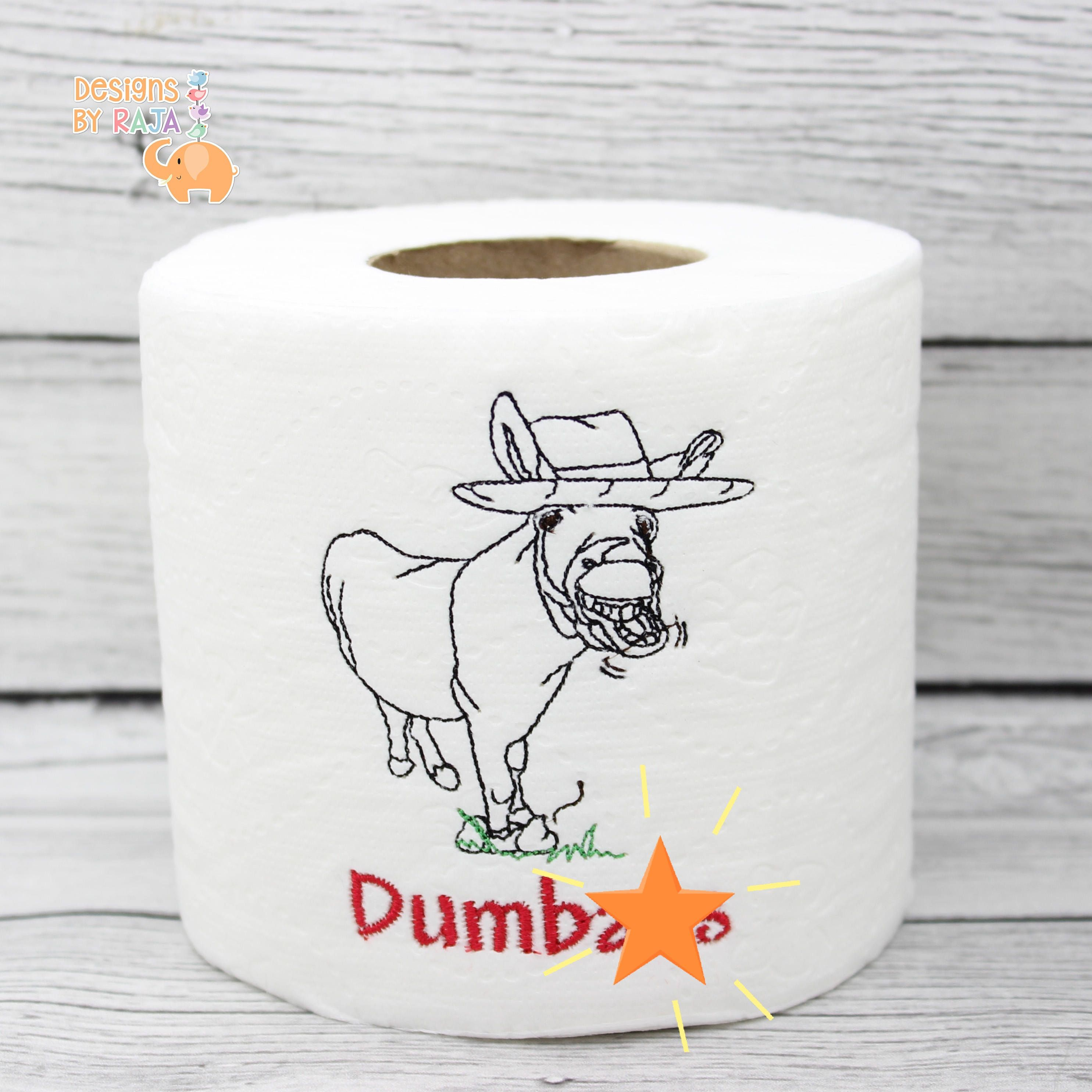 MATURE Dumb butt donkey embroidered novelty toilet paper, snarky humor, birthday gift, funny joke gag gifts, bathroom decor, gift for him by DesignsByRAJA ...