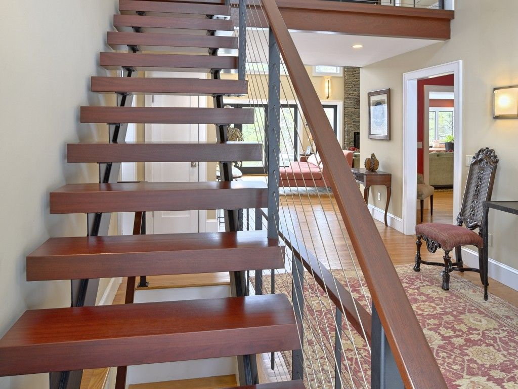 Best Double Stringer Floating Staircase With Cable Railing And 640 x 480