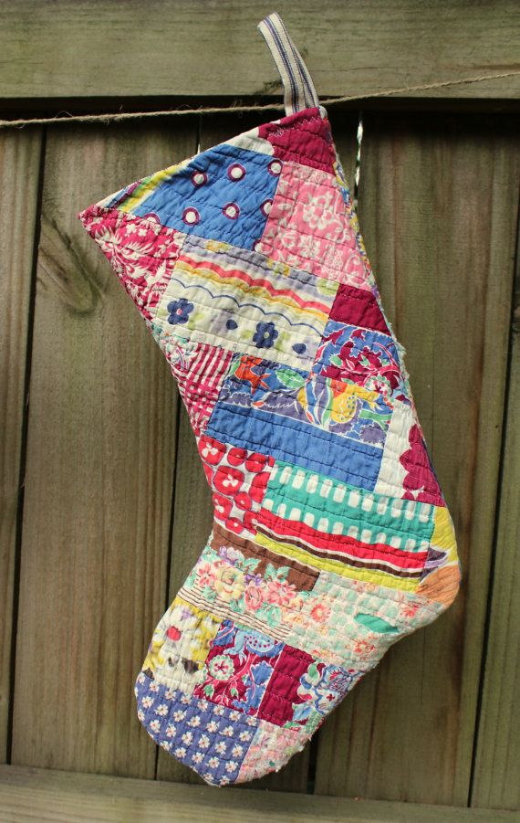 Vintage Quilt Christmas Stockings  Holiday by catnapcottage, $59.50