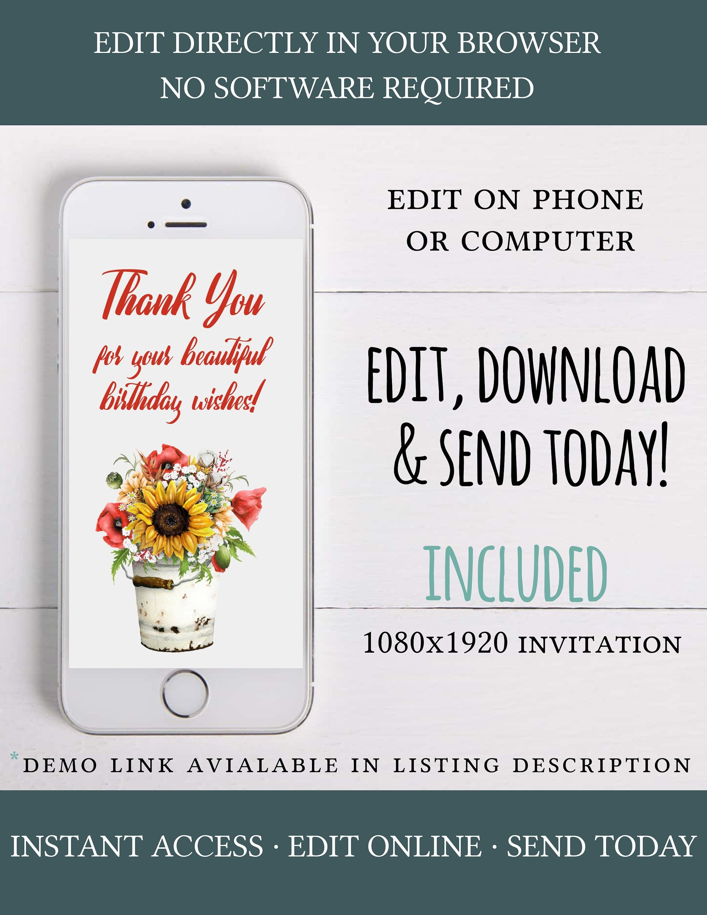 Digital thank you card, iphone thank you card,thank you e