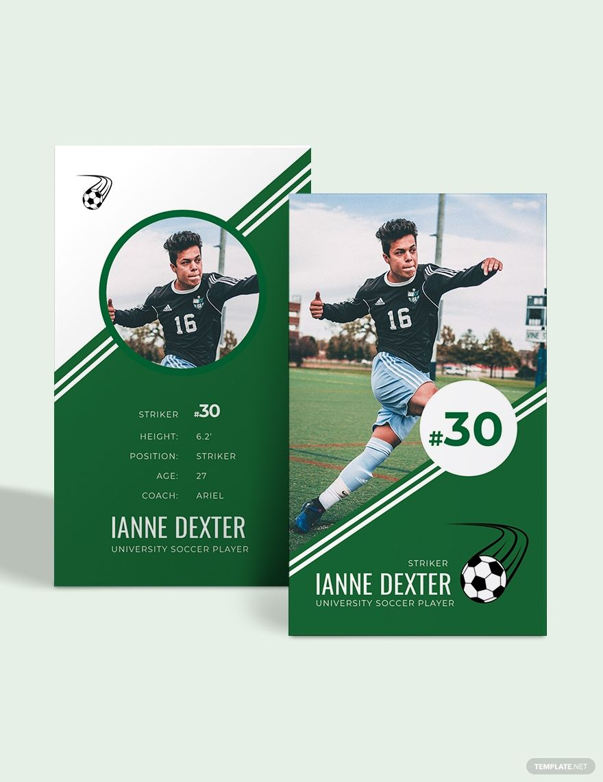 Soccer Trading Card Template Ad Paid Trading Soccer Template Card In 2020 Trading Card Template Card Template Cards
