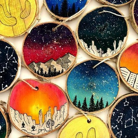 CraftsWooden Crafts Space Art Wood Slice Oil Painting  Landscape Painting  Christmas Ornament  Milky way Sky  Mounta Acryl Geode Malerei  DeSerres  Try to paint the diffe...