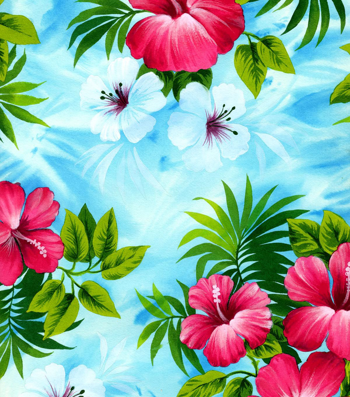Tropical Fabric Pink Hibiscus On Sky Blue Poplin