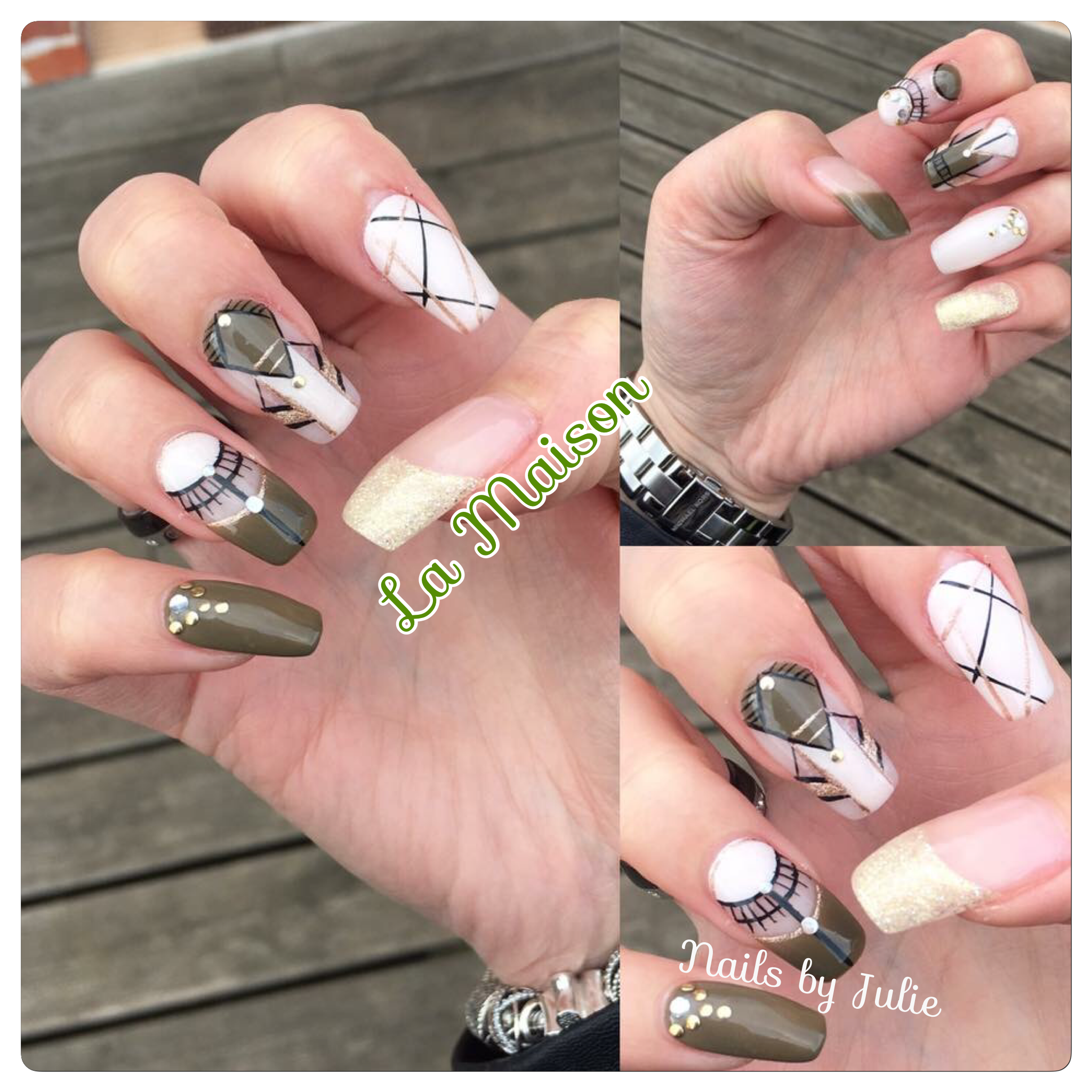 Ongles en gel kaki rose poudré nacré dessins mains nails design