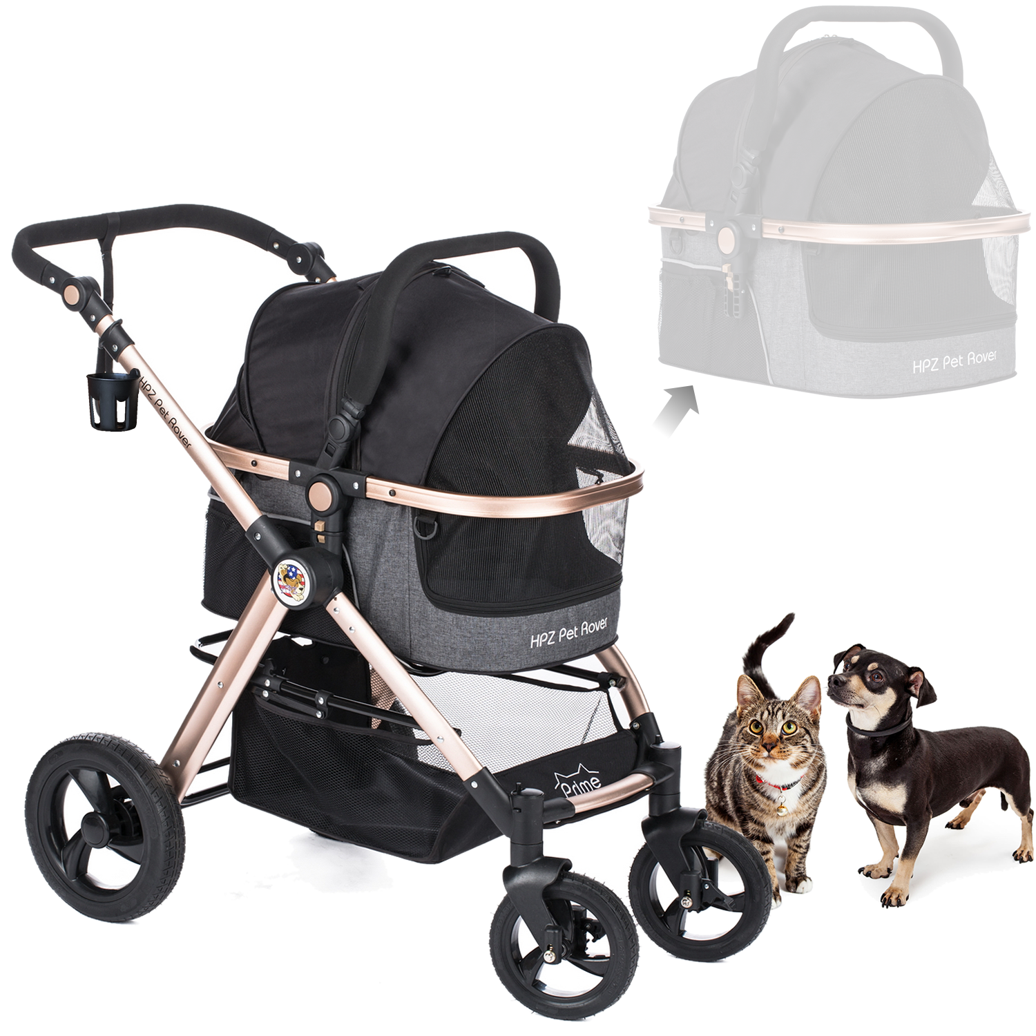 PRIME Luxury 3in1 Stroller for Small/Medium Dogs, Cats