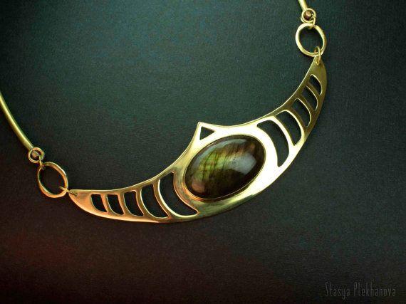 Labradorite necklace. Brass necklace. by StasyaWireWrap on Etsy