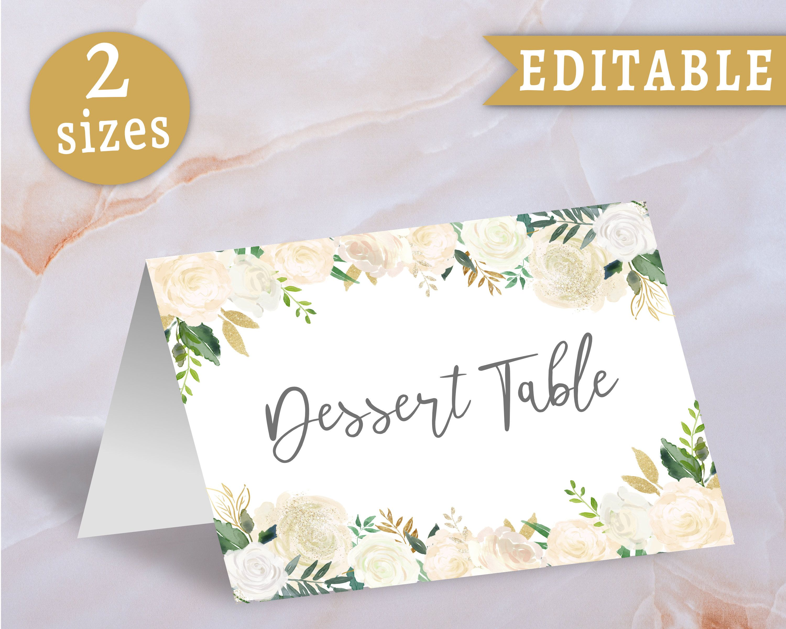 Food Tent Card Label Floral White Gold Editable Template Etsy Food Tent Tent Cards Tent