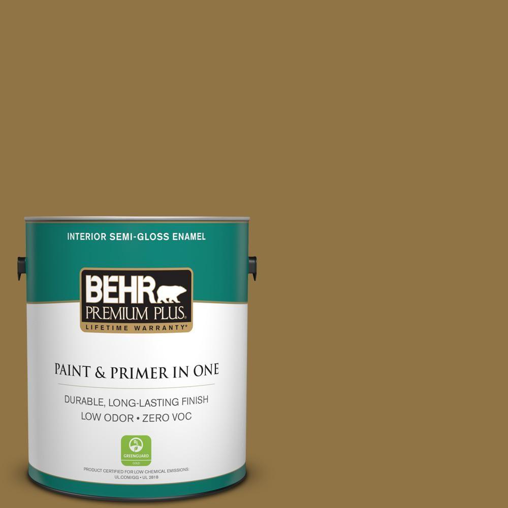 BEHR Premium Plus 1-gal. #350D-7 Cattail Brown Zero VOC Semi-Gloss Enamel Interior Paint