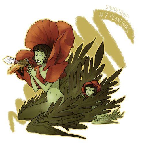 30 Day Monster Guuuurl Challenge 7 Plant Girl Creature Art