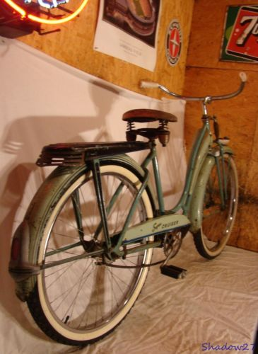 1950s-MONARK-DELUXE-SUPER-CRUISER-TANK-BICYCLE-SPRINGER-FORK-RACK-LIGHT-VINTAGE