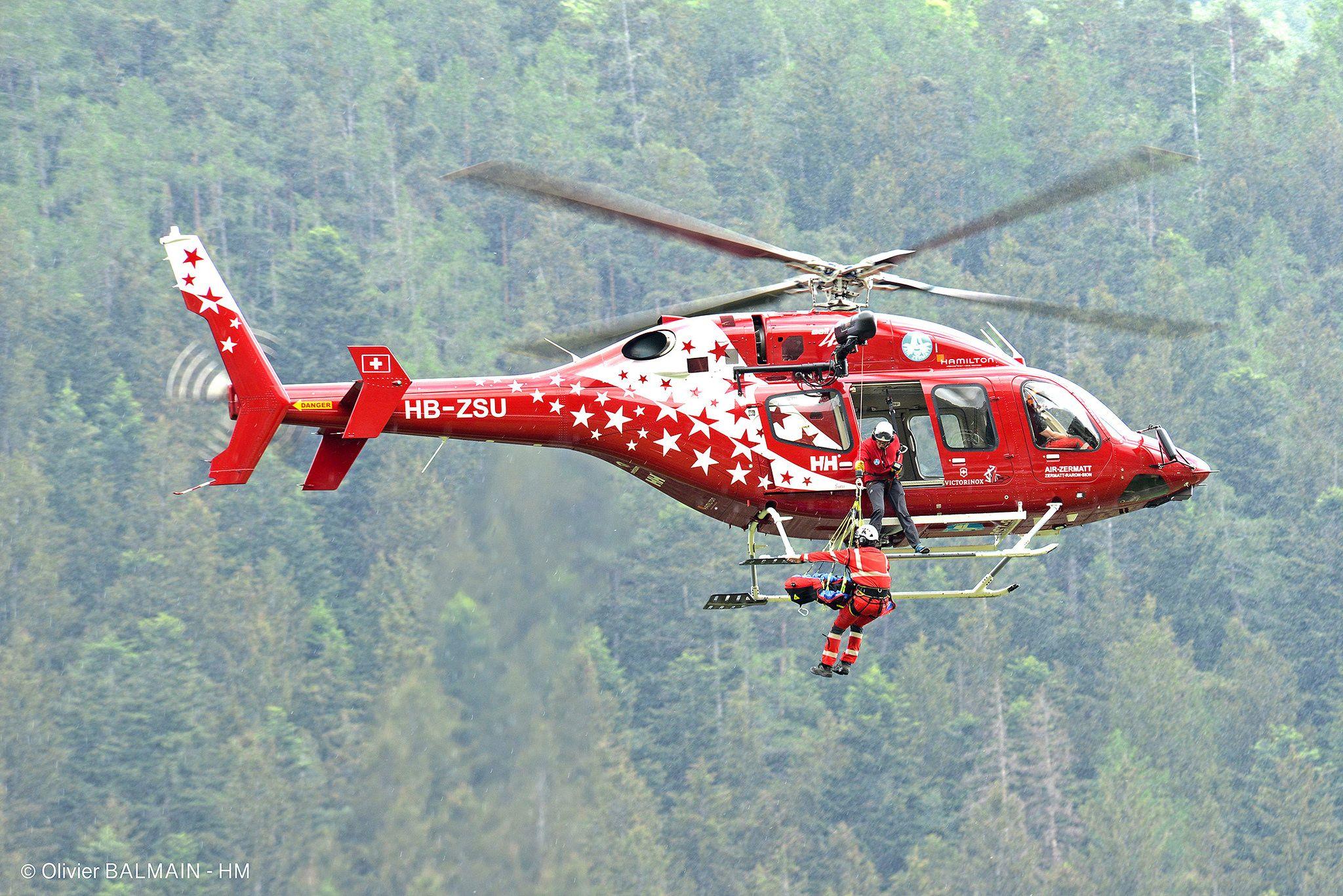 Bell 429 Air Zermatt Treuillage Secours En Montagne Zermatt Life Flight Helicopter Helicopter