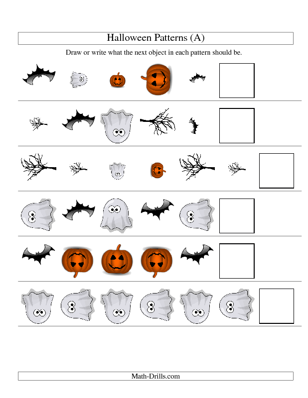 Printable Worksheets halloween adjectives worksheets : Halloween Math Worksheet -- Picture Patterns -- Three-Attributes ...