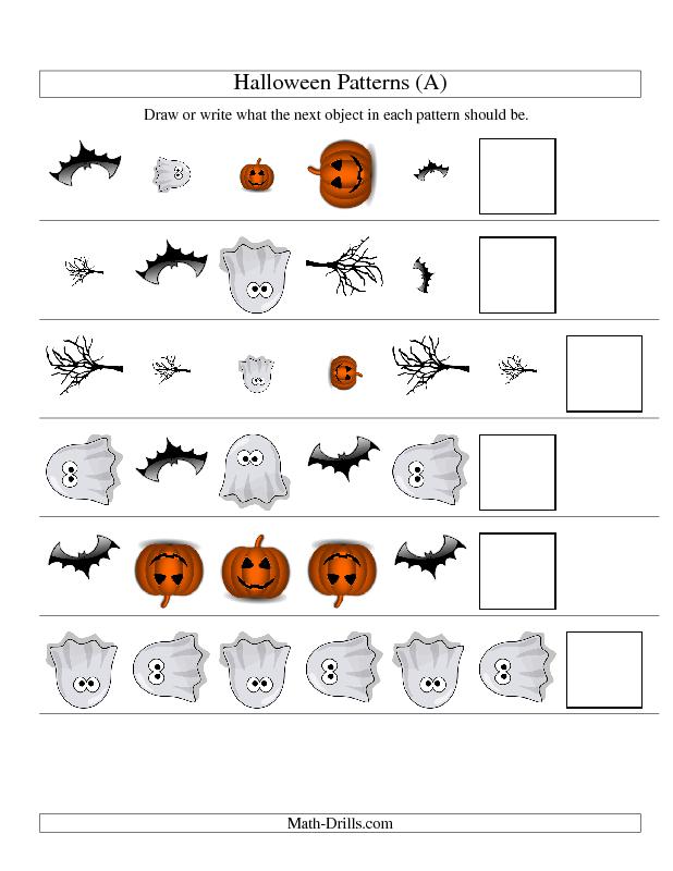 Halloween Math Worksheet -- Picture Patterns -- Three-Attributes ...