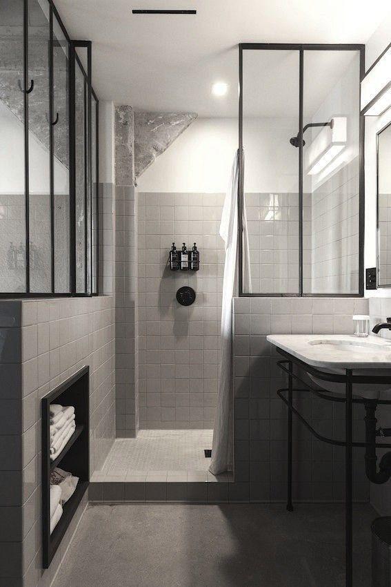 parois en verre type fen tres d 39 atelier inspirations salle de bains salle de bain salle et. Black Bedroom Furniture Sets. Home Design Ideas