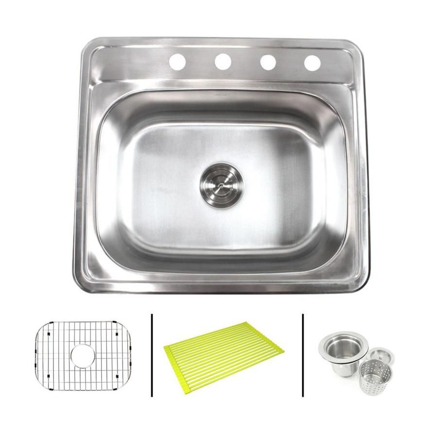 Emoderndecor Ariel Drop In 25 In X 22 In Stainless Steel Single Bowl 4 Hole Kitchen Sink Lowes Com Single Bowl Kitchen Sink Sink Drop In Kitchen Sink 25 x 22 stainless steel sink