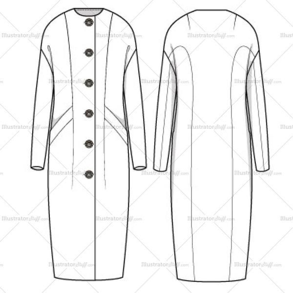 Long sleeve full length Cocoon Coat with novelty buttons. Crew neck with a modern fit. Novelty buttons can be edited to the buyer's desire because it's not a fl