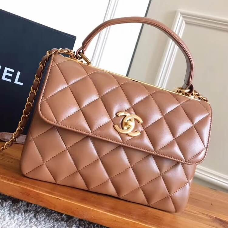 93671ab82e91 Chanel Small Trendy CC Flap Bag With Top Handle Caramel 2017 Gold Hardware