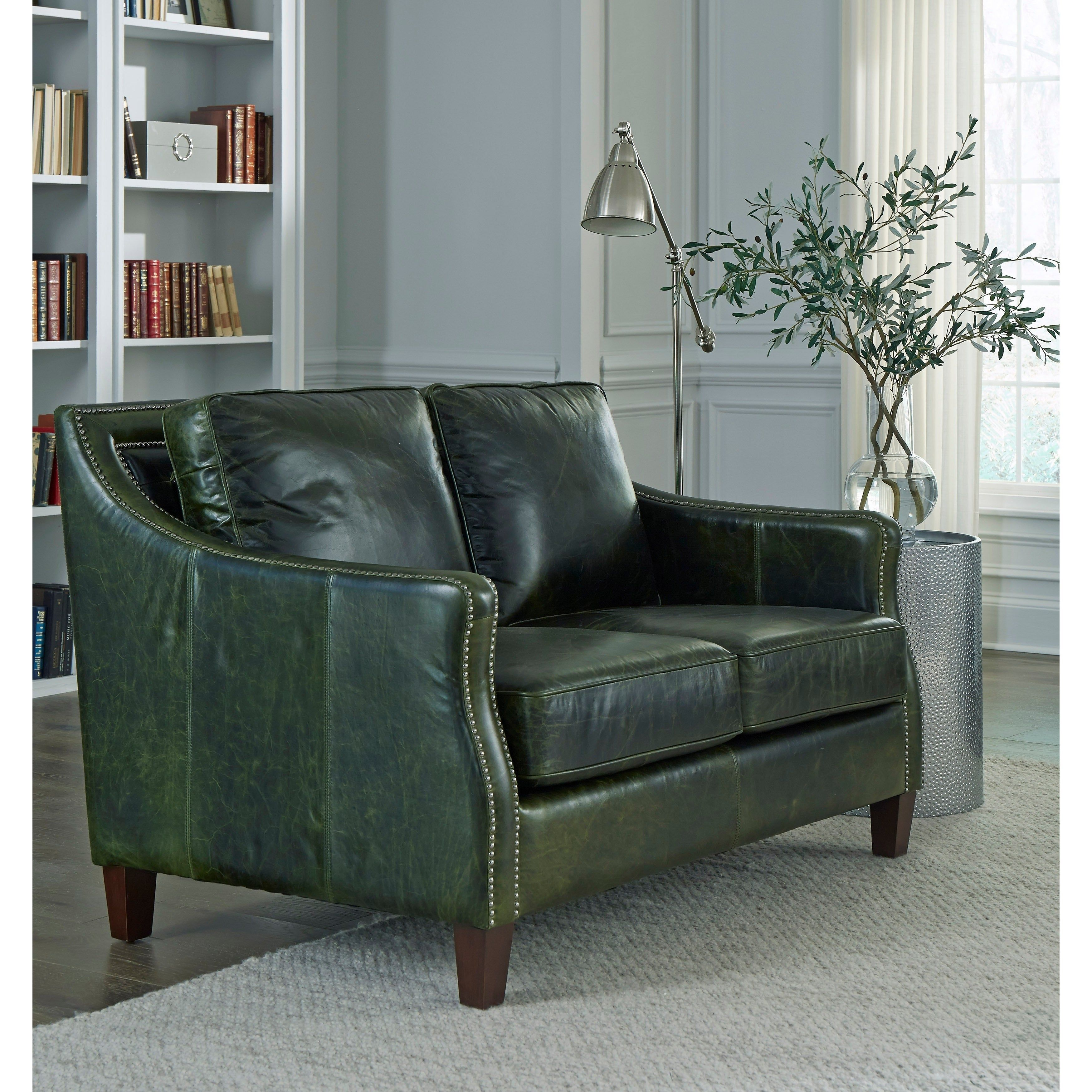 Essex Distressed Green Top Grain Leather Loveseat in 2020