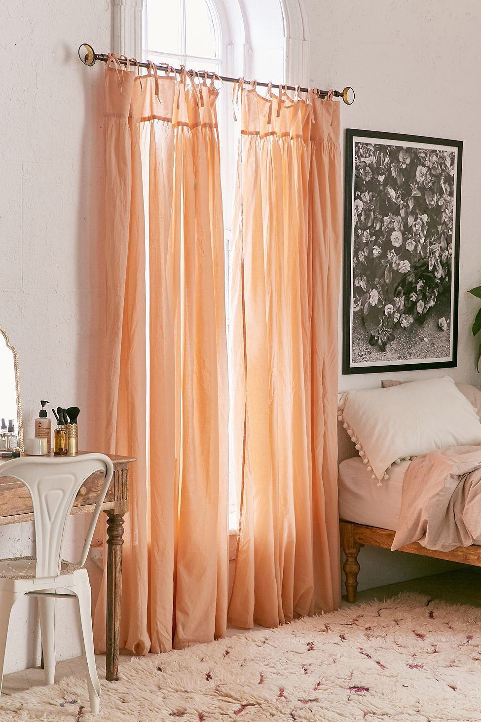 Plum Amp Bow Gathered Voile Curtain By Urban Outfitters In