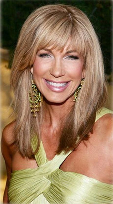 Long hairstyles for women over 50 #longhairstyleswithbangs | Medium length hair with bangs ...