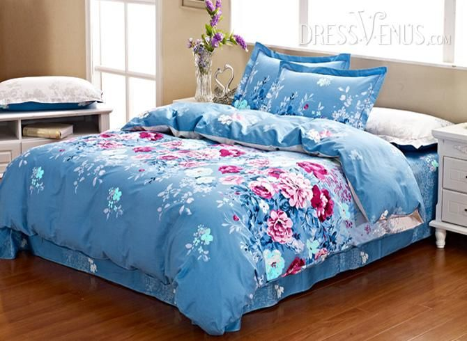 US$100.99 Attractive Bright Blue 4 Piece Cotton  Bedding Sets with Pink Flowers Printing. #Bedding #4 #Blue #Pink