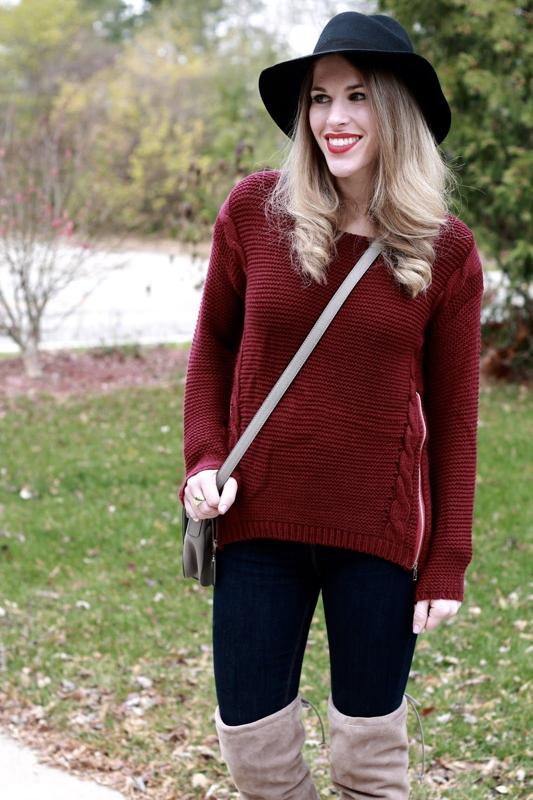 I do declaire burgundy sweater & houndstooth skirt and