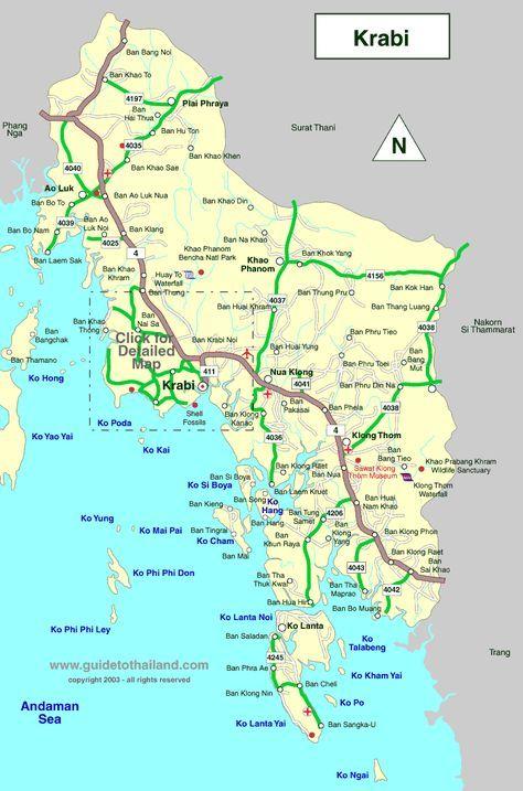 map of krabi thailand travel map Thailand Pinterest Krabi