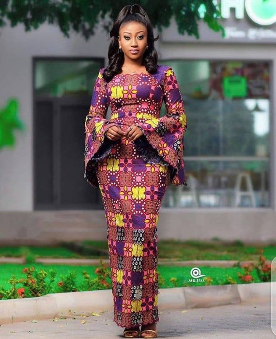 African Fitted Maxi Dress/African Trumpet Sleeve M